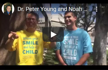 Image of Dr. Peter Young and Noah get pie on their faces Click to See Video